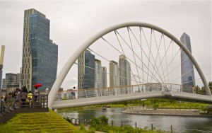An example of the unconventional architecture of Songdo, this bridge overlooks the Central Park saltwater canal. CHRISTOPHER CAMERON / THE STATESMAN