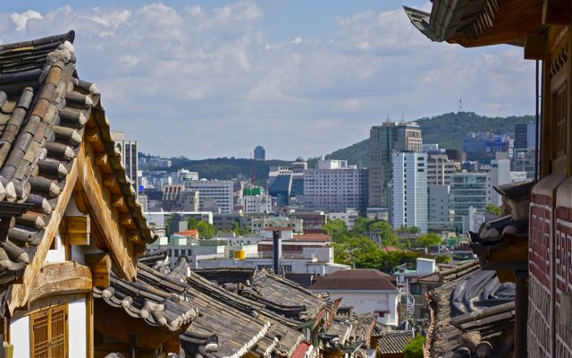 A view of the more modern areas of the Jongno district from one of the older residential areas that have been converted into a museum space. Silence is strictly enforced in this area. CHRISTOPHER CAMERON / THE STATESMAN