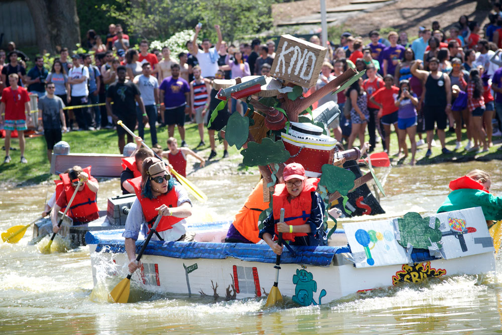 """The Toscanini and Honors College boat, designed after the cartoon show """"The Kids Next Door"""" won this year's Roth Regatta, overthrowing the Spirit of Stony Brook Marching Band's two-year winning streak. LUIS RUIZ DOMINGUEZ"""